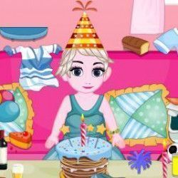 A bebê Elsa quer sua juda para poder colocar em ordem sua casa depois de uma linda festa de aniversário. Recolha todo lixo do chão e arrume as roupas e acessórios que estão espalhados. Deixe a c...