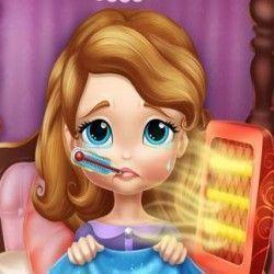 Você agora precisa cuidar da Princesa Sofia que está no hospital muito doente porque pegou um resfriado. Com muita atenção medique e verifique a temperatura para que a Princesa Sofia se recupere...