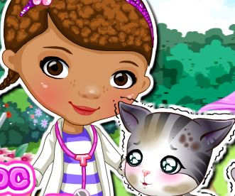 Doutora dos Brinquedos cuidar do gato