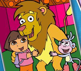 Pintar Dora, Botas e o leão