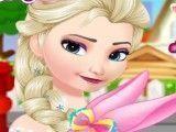 Elsa Frozen cuidar da coelha