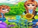 Anna e filha jardinagem
