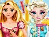 Elsa e Rapunzel cozinhar peixe