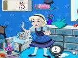 Bebê Elsa limpeza do quarto