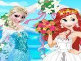 Noivas Ariel e Elsa vestir