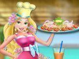 Princesa Rapunzel frango com brócolis