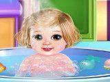 Bebê banho de banheira