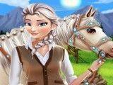 Elsa cuidar do cavalo