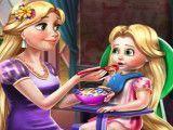 Rapunzel mamãe cuidar da bebê