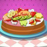 Fazer bolo com sorvete e frutas