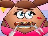 Pou menina cuidar dos dentes