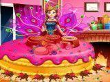 Princesa Anna preparar bolo