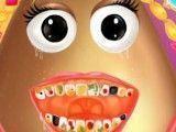Menina Pou cuidar dos dentes