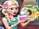 Elsa limpar louças
