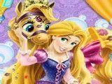 Princesa Rapunzel cuidar do pônei
