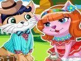 Casal de gatos vestir