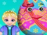 Elsa decorar ovo de Páscoa
