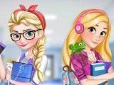 Rapunzel e Elsa vestir roupas para escola