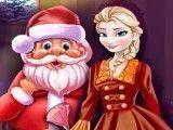 Papai Noel e Elsa limpar casa