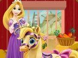 Rapunzel cuidar do pônei