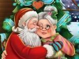 Mamãe Noel e Papai Noel beijos