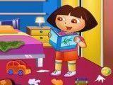 Dora limpar quarto de estudo