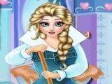 Princesa Elsa limpar banheiro