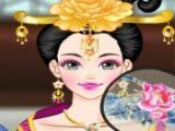 Chinesa maquiar e vestir