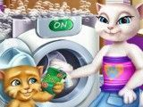Angela lavar roupas com Ginger