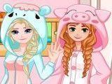 Elsa e Anna decorar quarto e vestir pijama