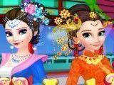 Roupas de chinesa Elsa e Anna