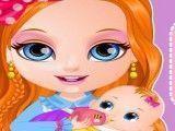 Barbie cuidar da irmã bebê