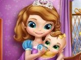 Cuidar da irmã bebê da Sofia