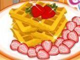 Preparar Waffle com morango