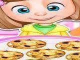 Menina preparar cookies