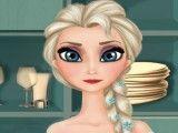 Elsa preparar hambúrguer