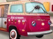 Carro da sorveteria na oficina