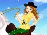 Vestir garota no cavalo