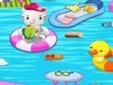 Hello Kitty limpar piscina