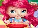 Ariel bebê fazer torta de maçã
