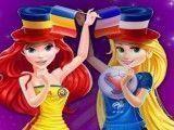 Rapunzel e Ariel roupas do futebol