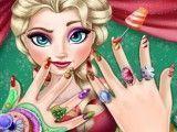 Manicure de Natal Frozen Elsa
