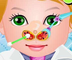 Bebê cuidar do nariz