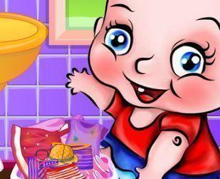 Bebê lavar roupas sujas