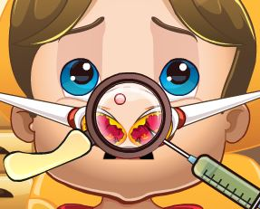 Bebê príncipe no médico do nariz
