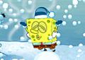 Bob Esponja brincando na neve
