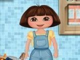 Dora lavar roupas