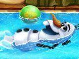 Olaf brincar na piscina