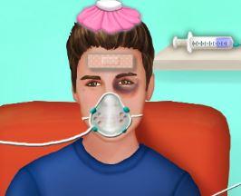 Celebridade Justin Bieber na ambulância