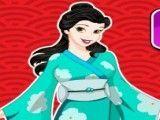 Bela princesa chinesa limpar quarto